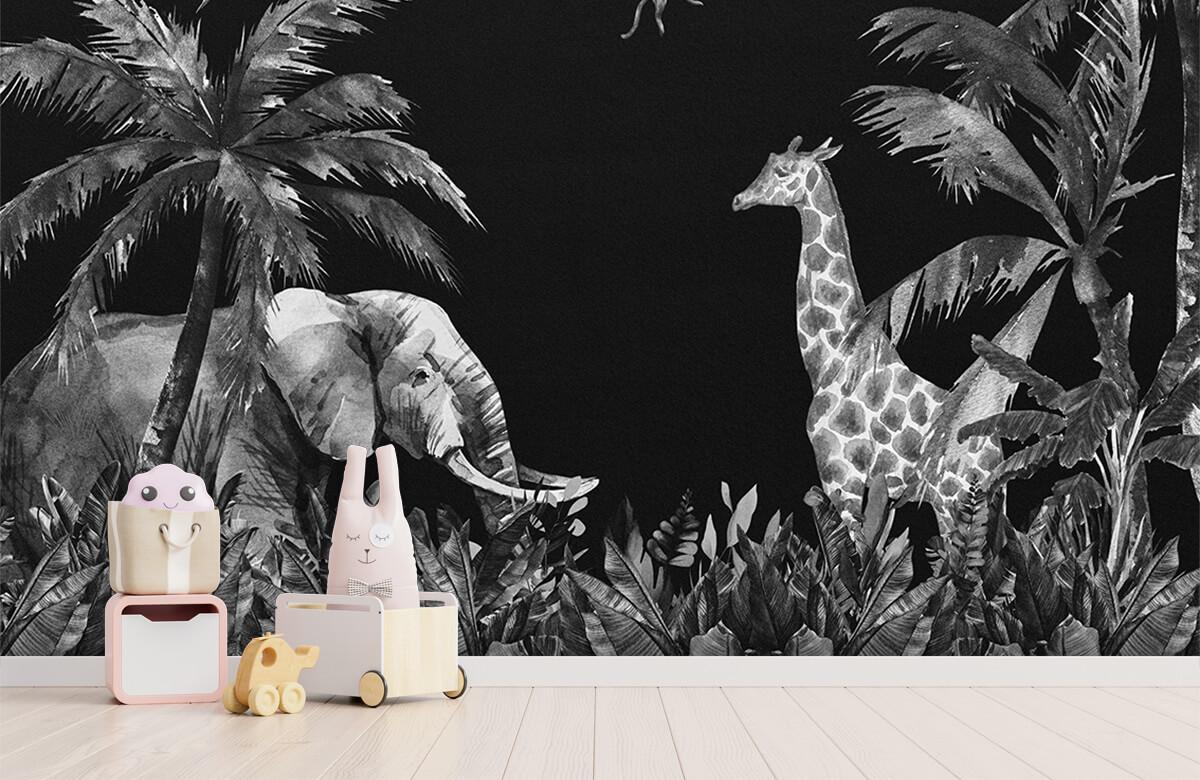 Jungle behang Zwart-wit jungle dieren 4
