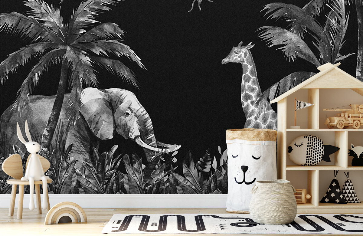 Jungle behang Zwart-wit jungle dieren 5