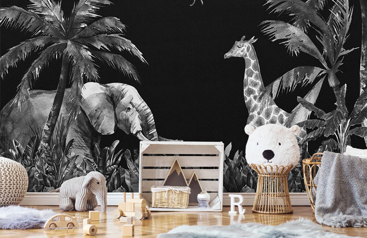 Jungle behang Zwart-wit jungle dieren 6