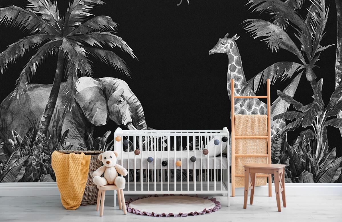 Jungle behang Zwart-wit jungle dieren 7
