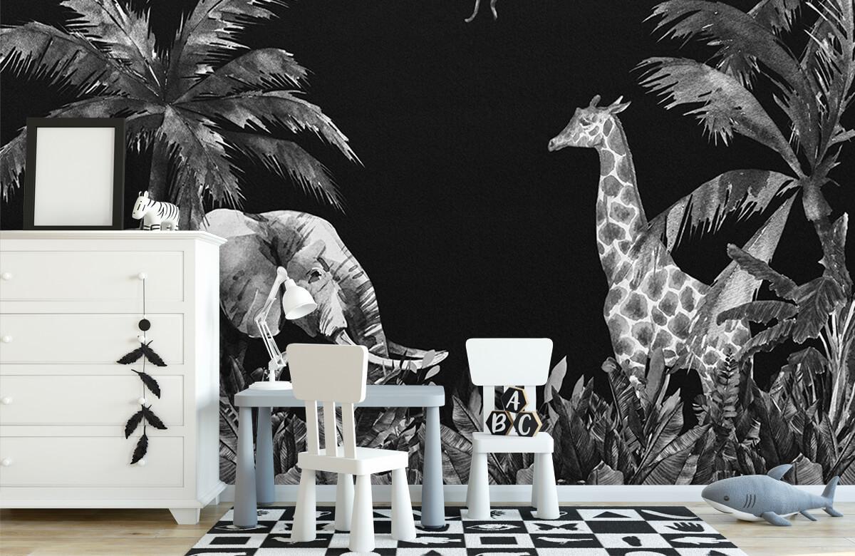 Jungle behang Zwart-wit jungle dieren 8