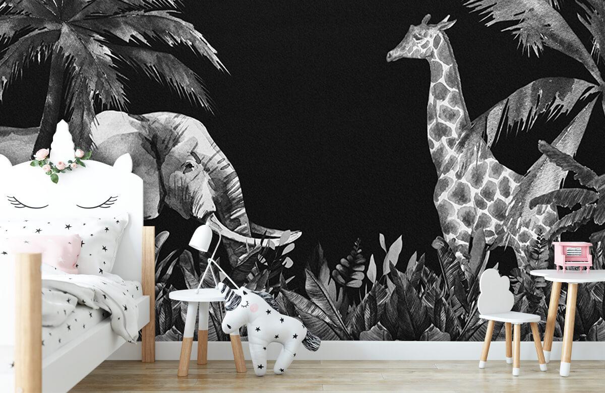 Jungle behang Zwart-wit jungle dieren 9