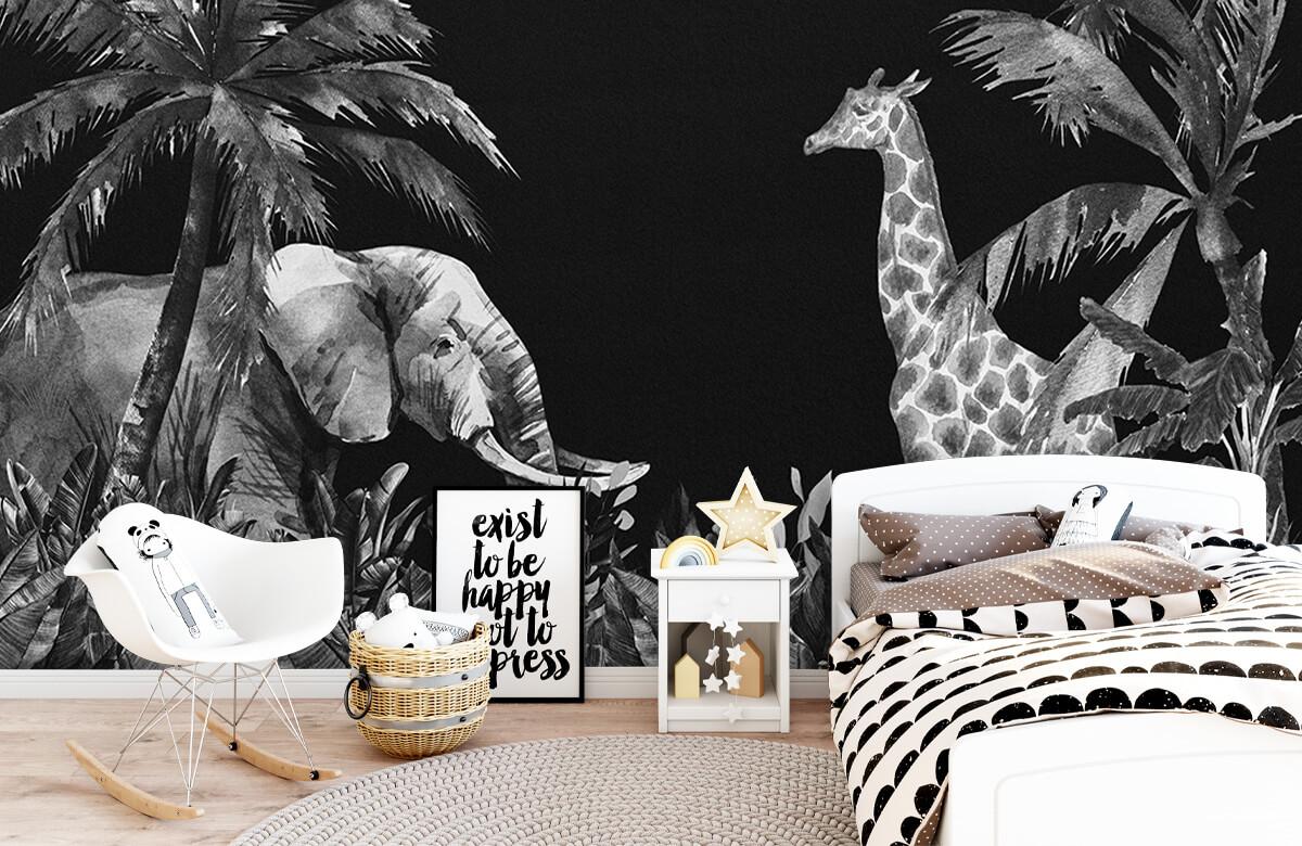 Jungle behang Zwart-wit jungle dieren 1