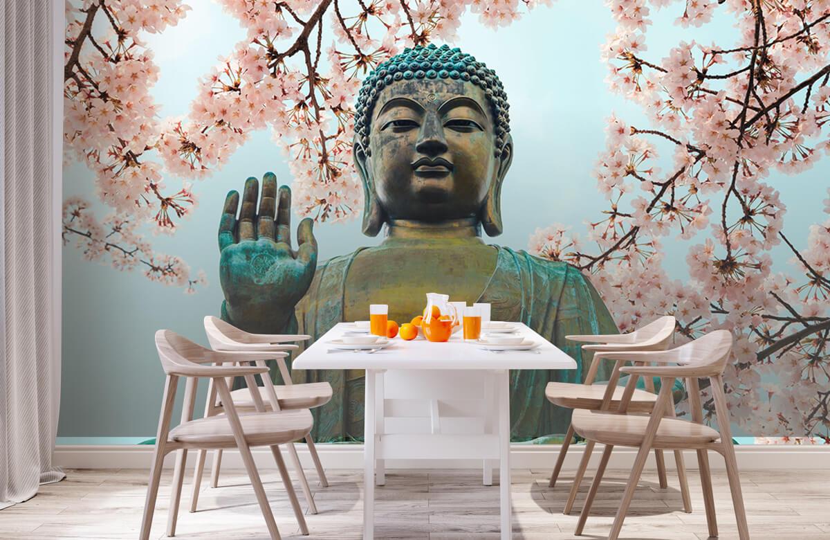buddha Buddha omringd met kersenbloemen 3