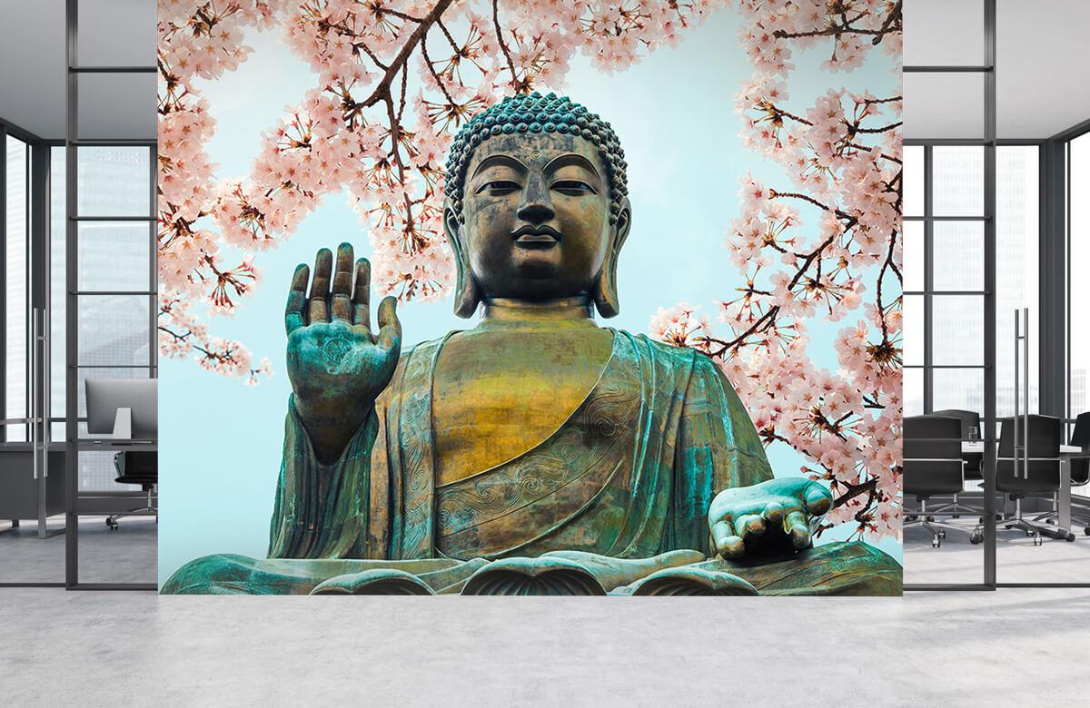 buddha Buddha omringd met kersenbloemen 4