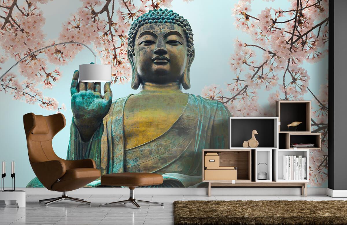 buddha Buddha omringd met kersenbloemen 5