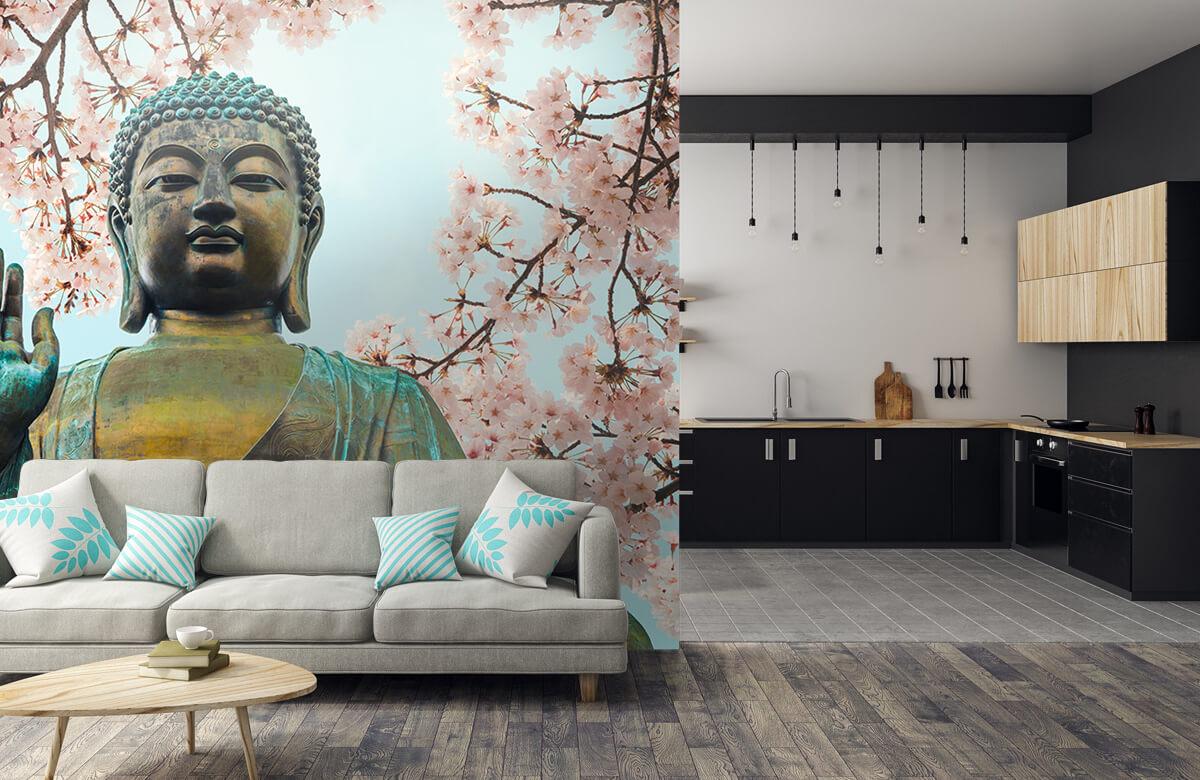 buddha Buddha omringd met kersenbloemen 6