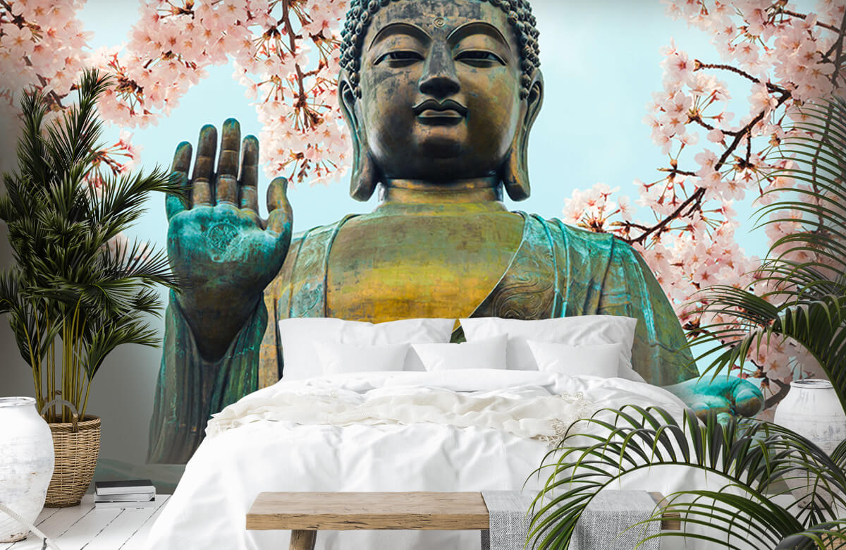 buddha Buddha omringd met kersenbloemen 7