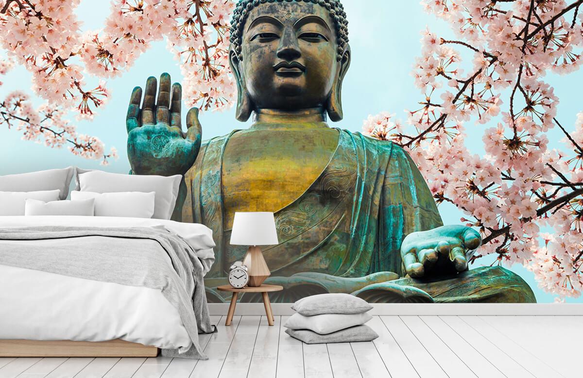 buddha Buddha omringd met kersenbloemen 8