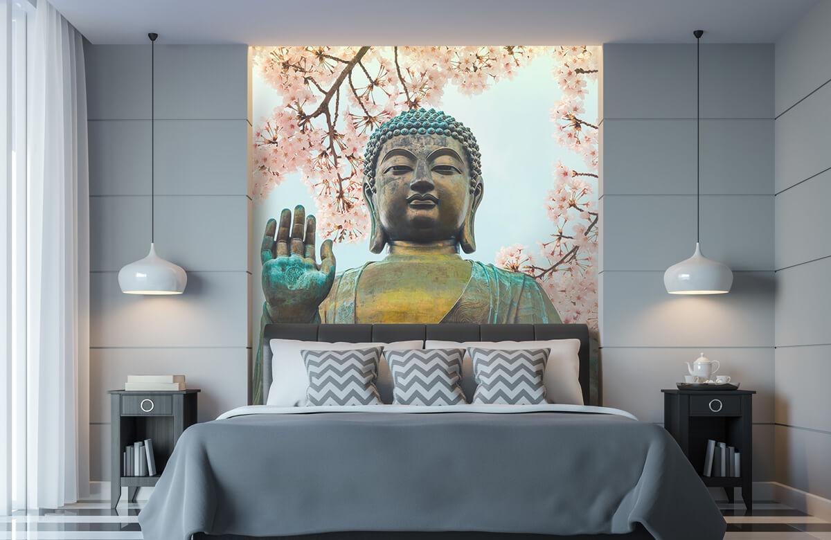 buddha Buddha omringd met kersenbloemen 9