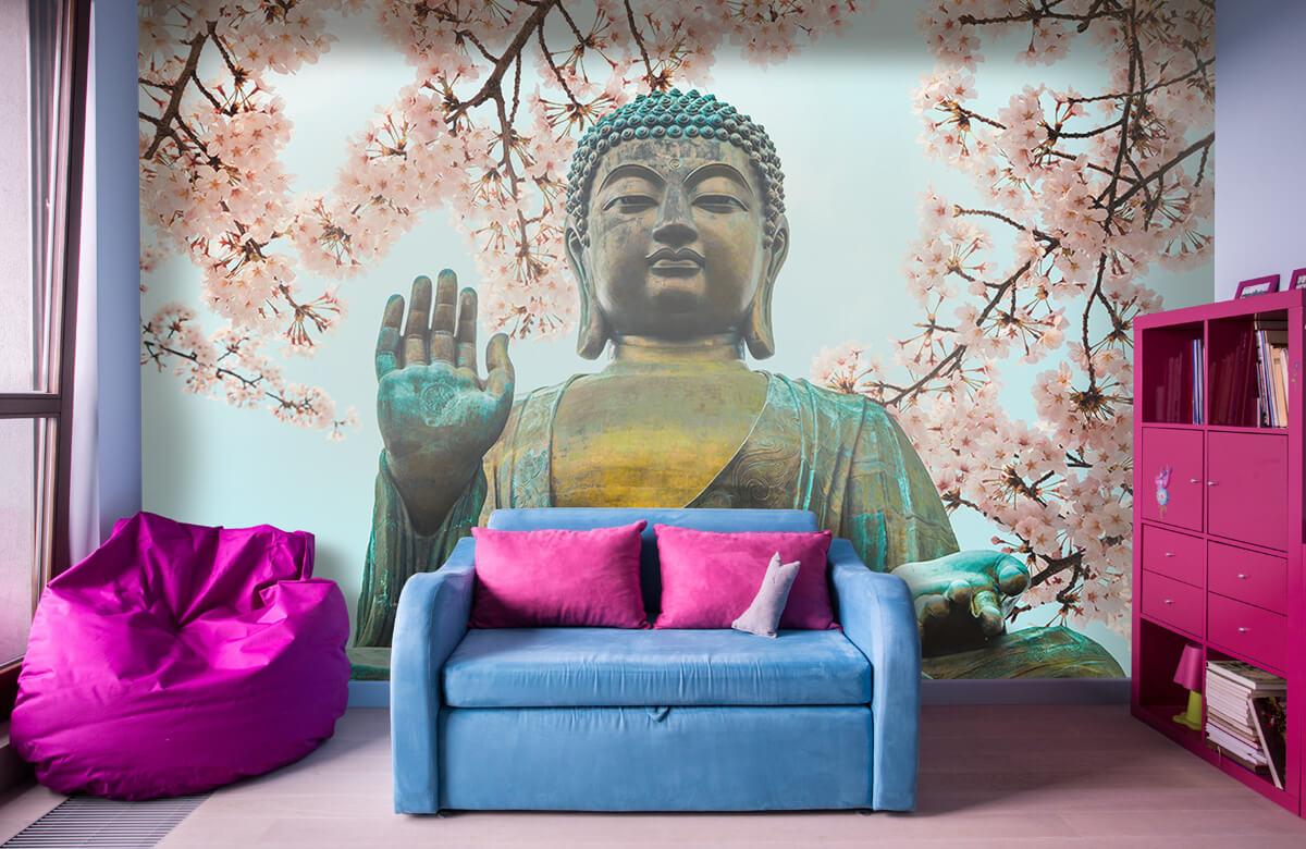 buddha Buddha omringd met kersenbloemen 10