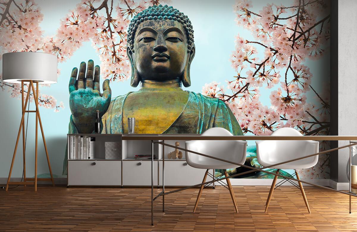 buddha Buddha omringd met kersenbloemen 11