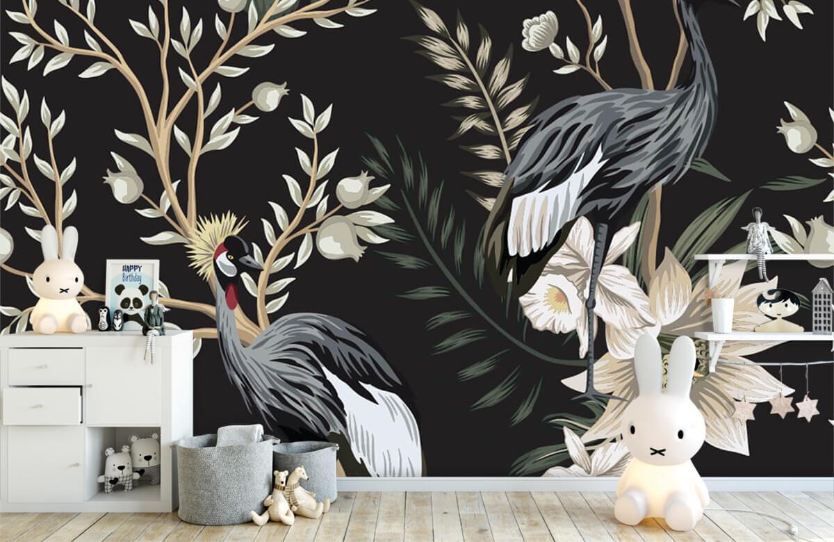 Kraanvogels tussen de bladeren 4