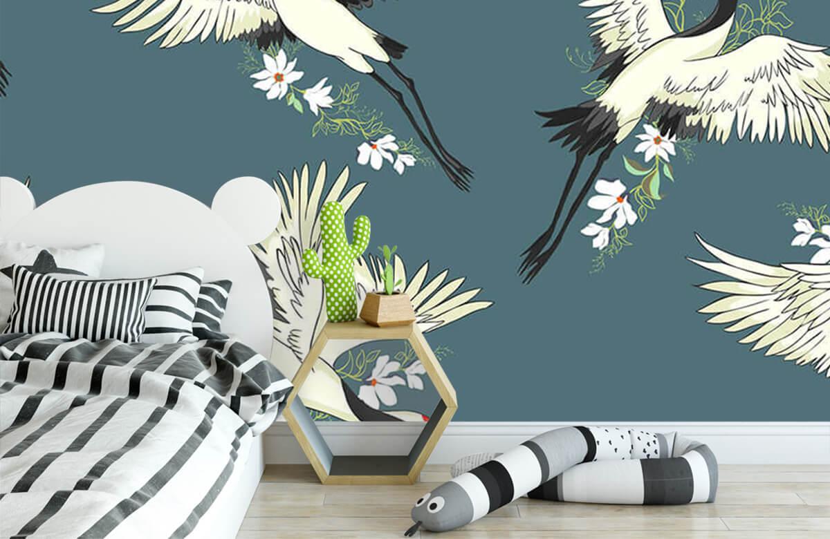 Blauw kraanvogel patroon 2