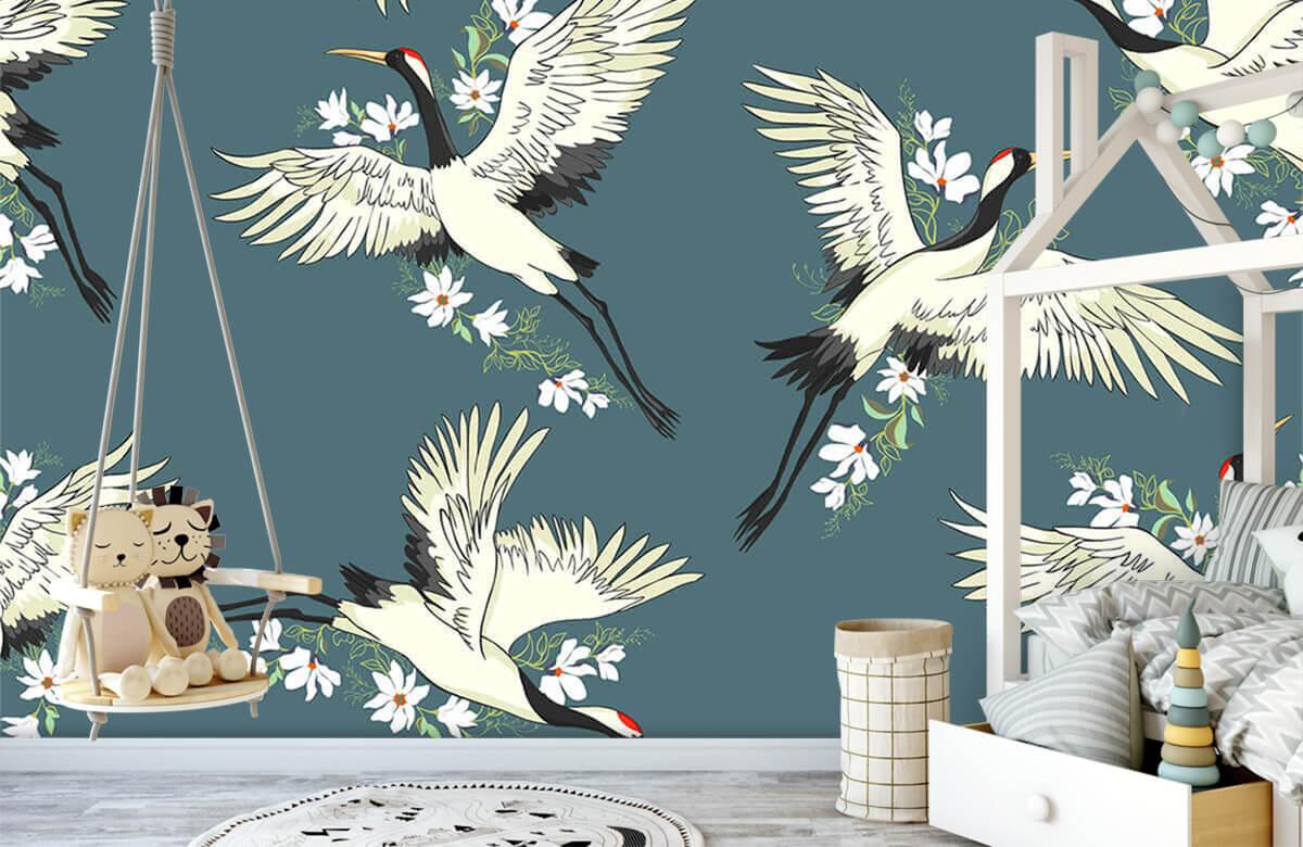 Blauw kraanvogel patroon 3