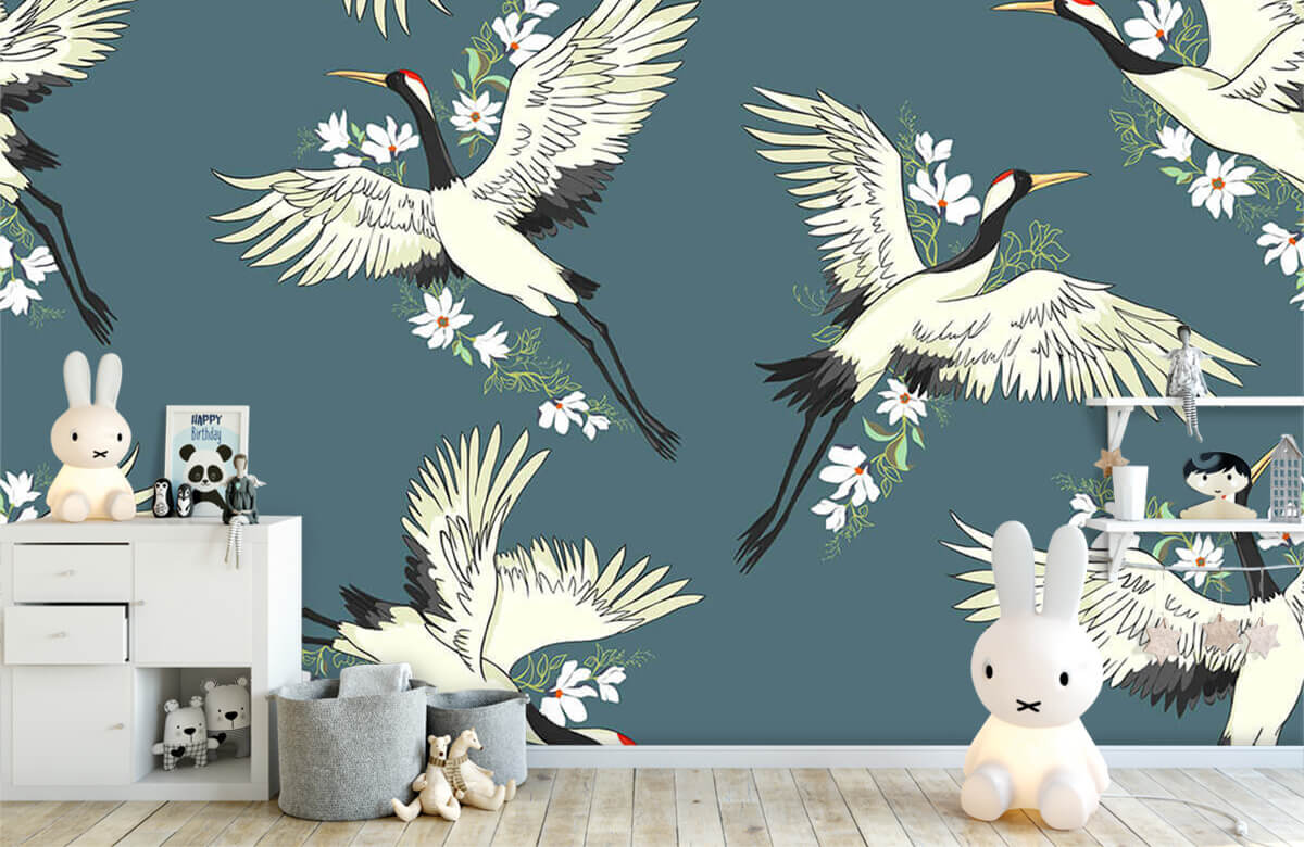 Blauw kraanvogel patroon 4
