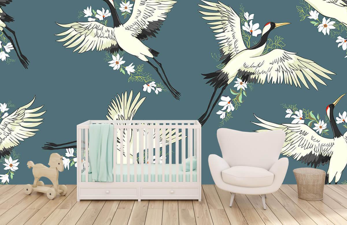 Blauw kraanvogel patroon 5