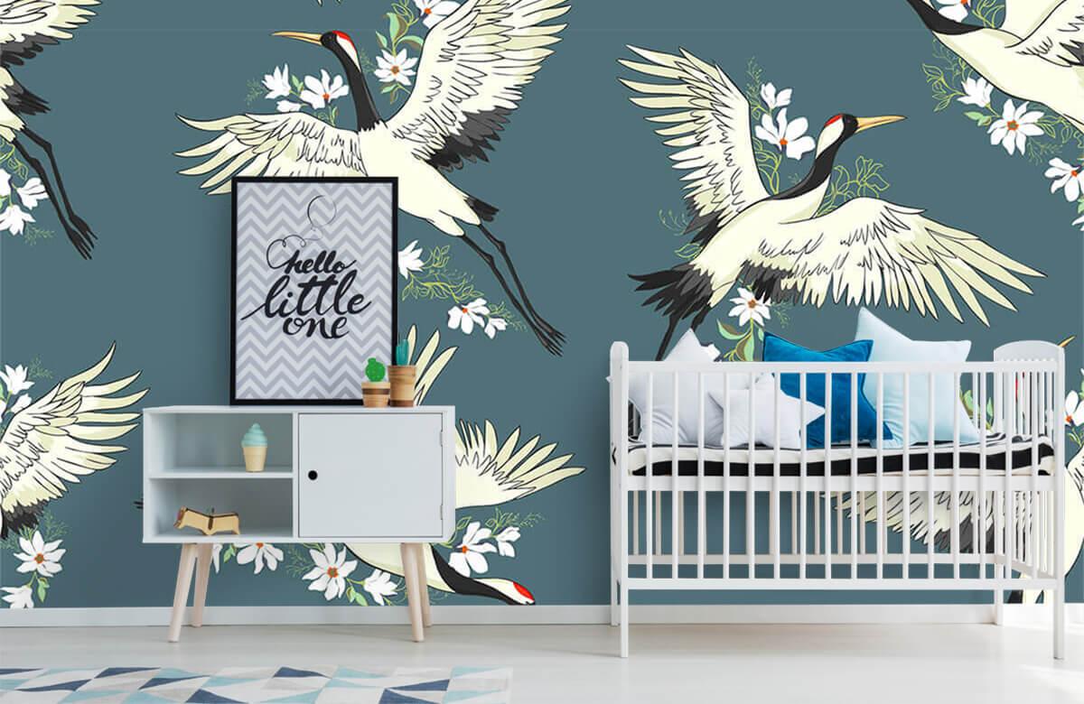 Blauw kraanvogel patroon 6
