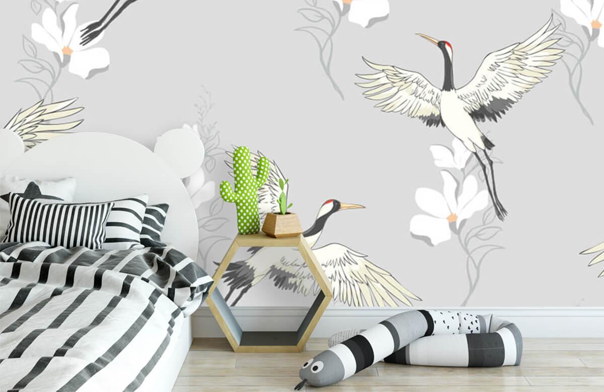 pattern Paars patroon kraanvogel 2