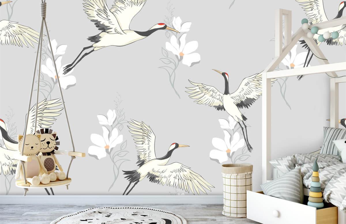 pattern Paars patroon kraanvogel 3