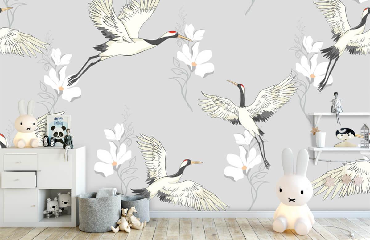 pattern Paars patroon kraanvogel 4