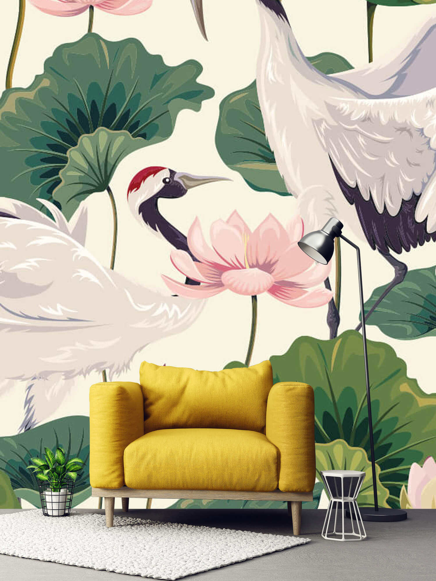 pattern Kraanvogel paar met lotus 1