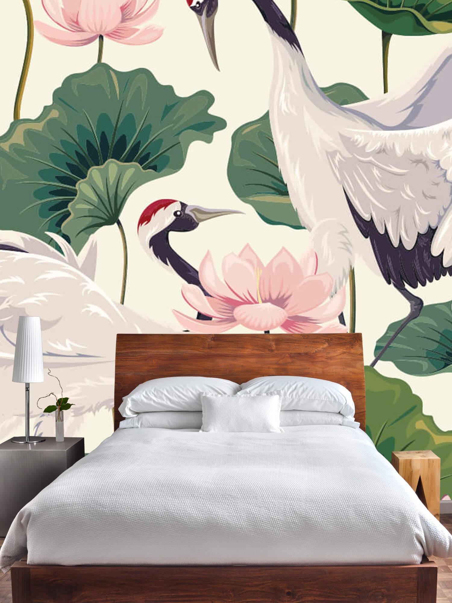 pattern Kraanvogel paar met lotus 3
