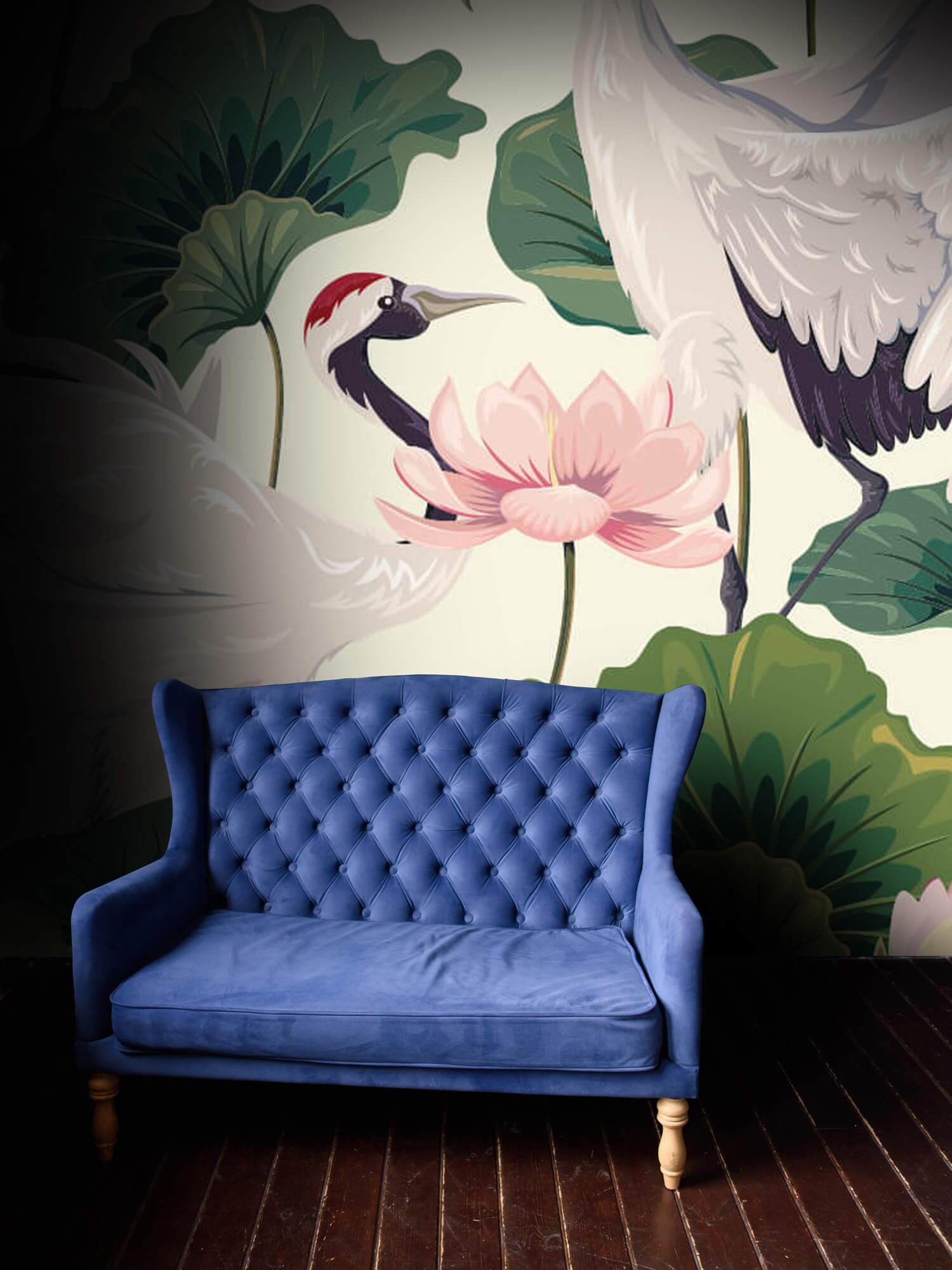 pattern Kraanvogel paar met lotus 4