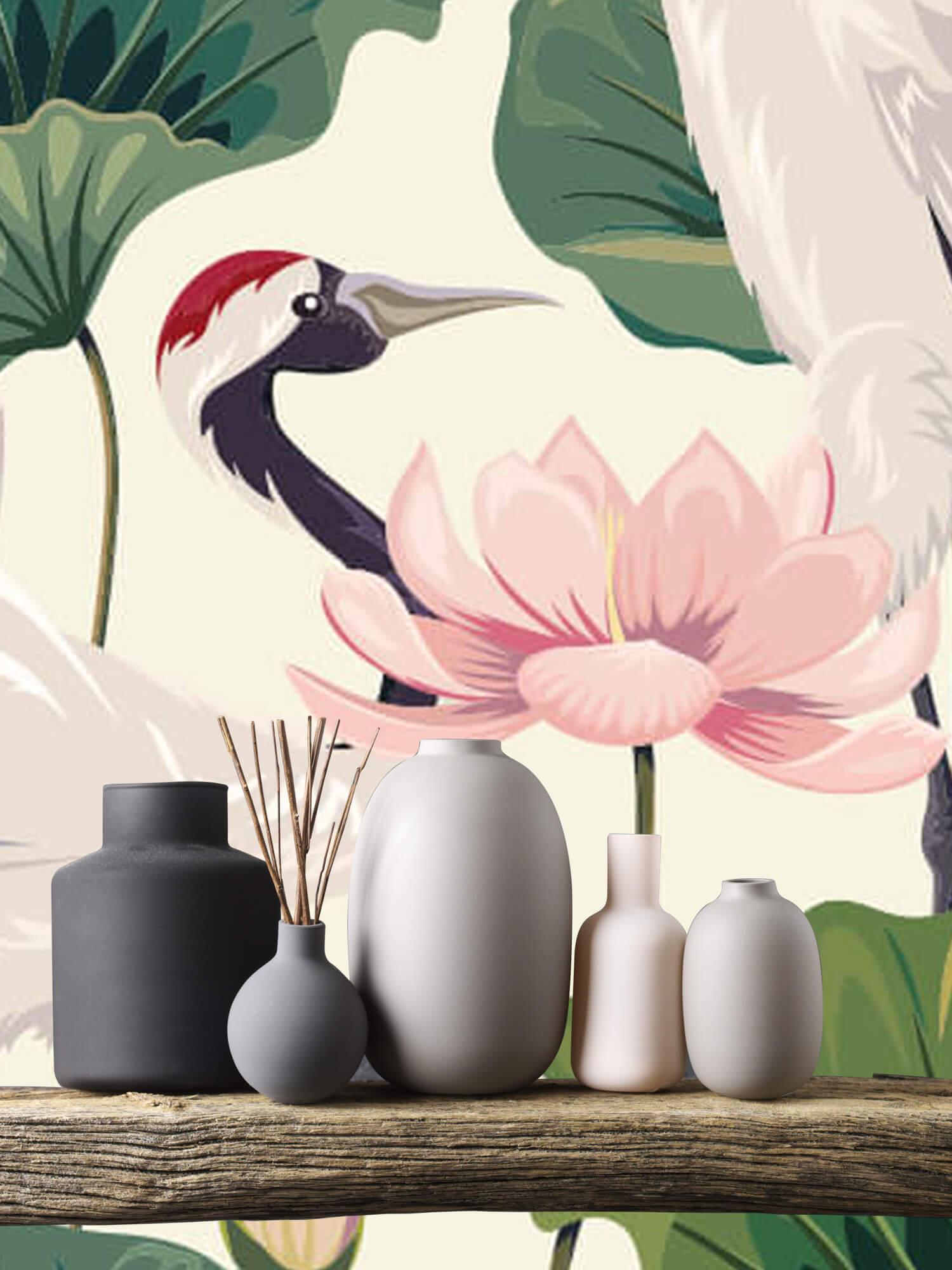 pattern Kraanvogel paar met lotus 5