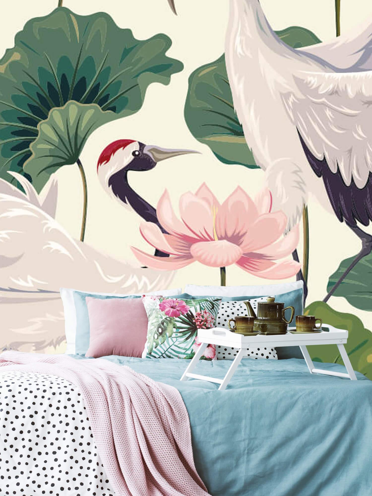 pattern Kraanvogel paar met lotus 6
