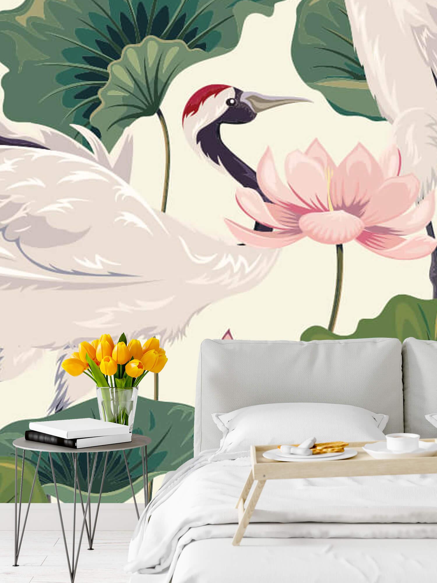 pattern Kraanvogel paar met lotus 8