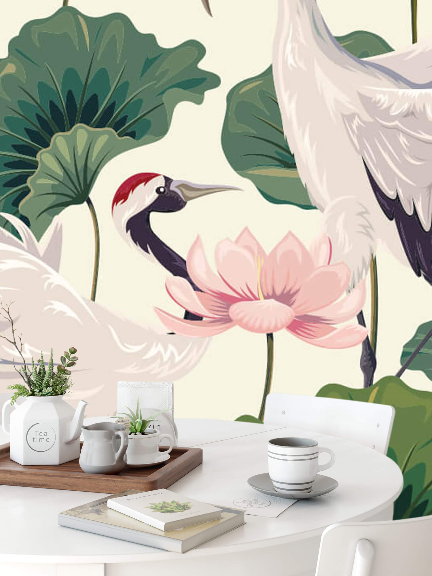 pattern Kraanvogel paar met lotus 9