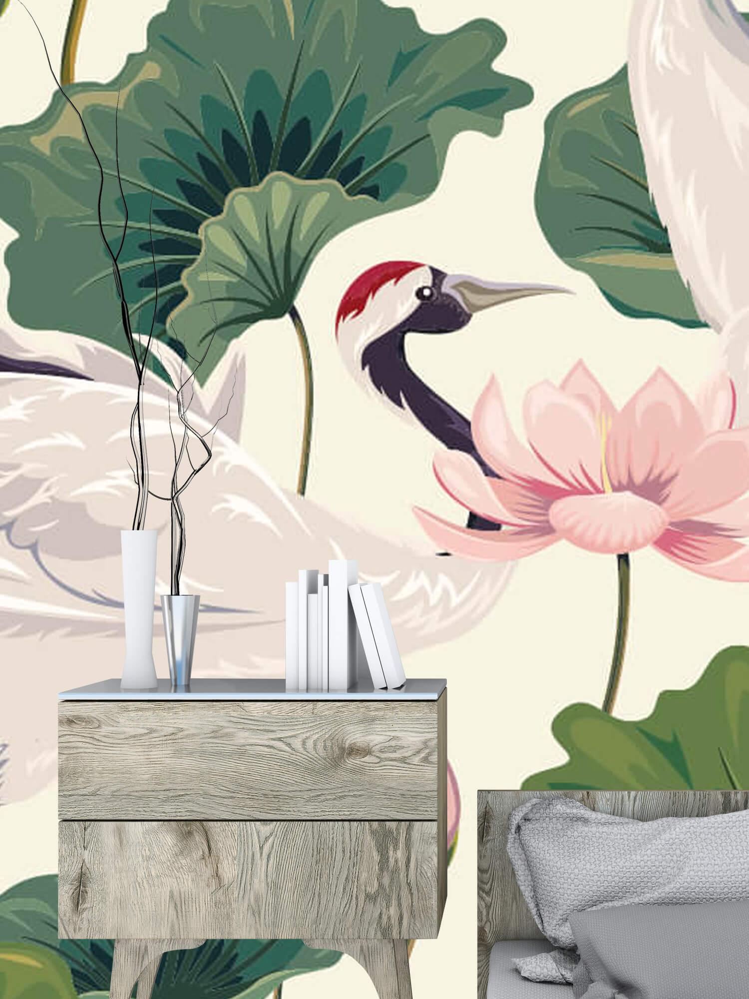 pattern Kraanvogel paar met lotus 10