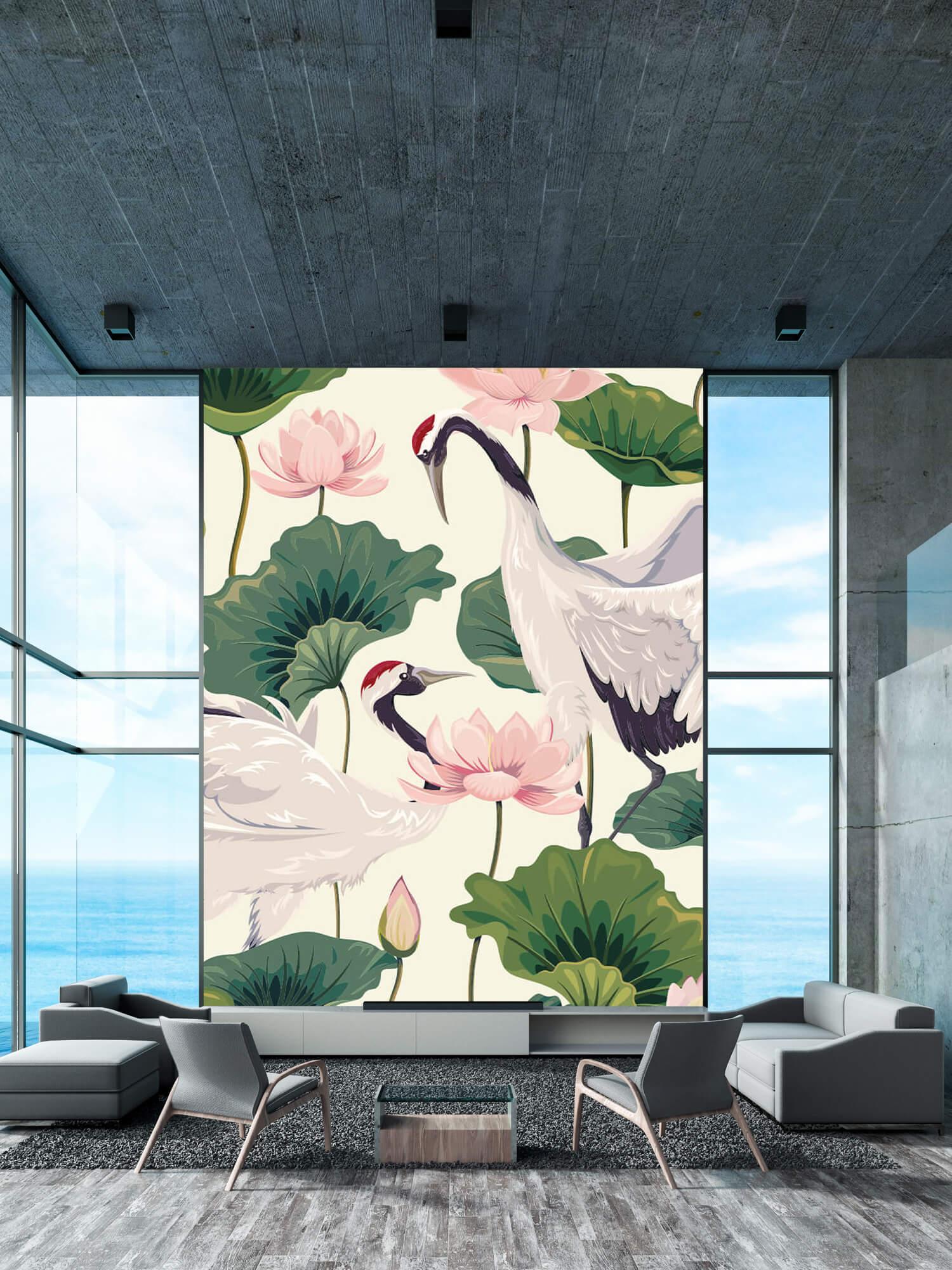 pattern Kraanvogel paar met lotus 2