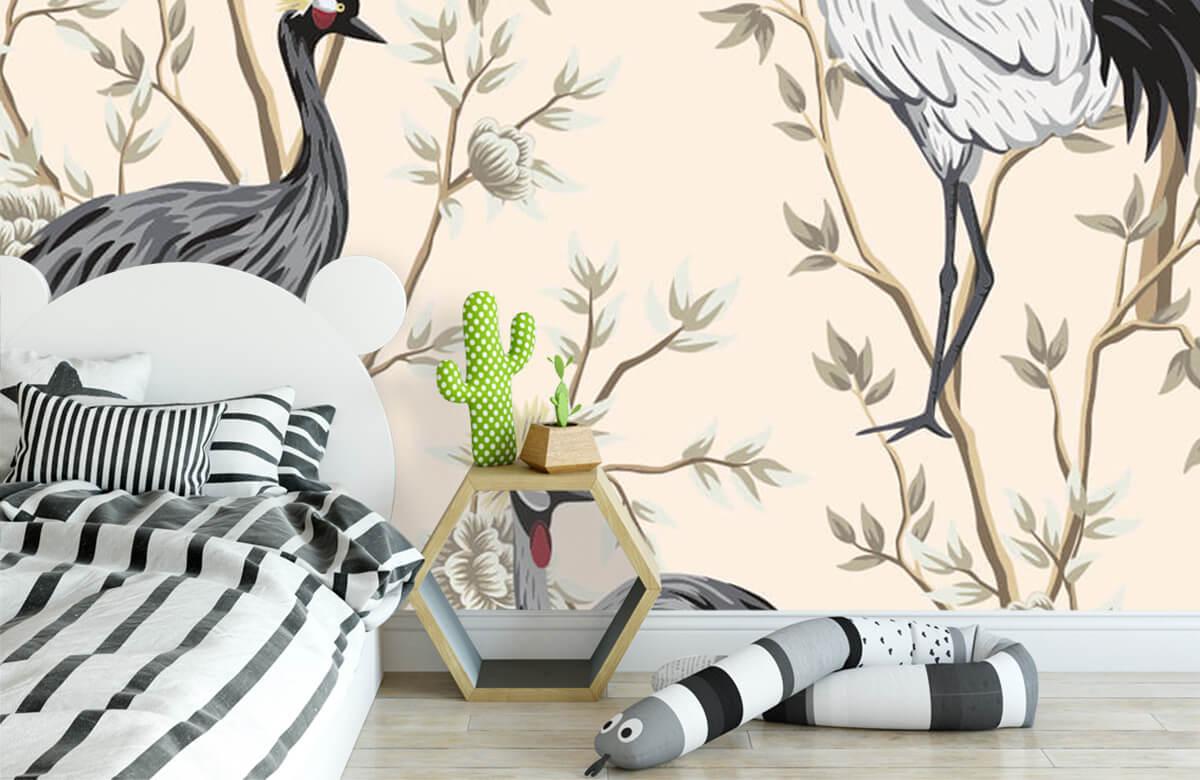 pattern Vintage kraanvogels 2