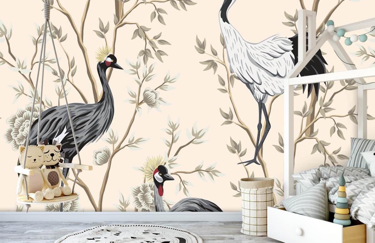 pattern Vintage kraanvogels 3