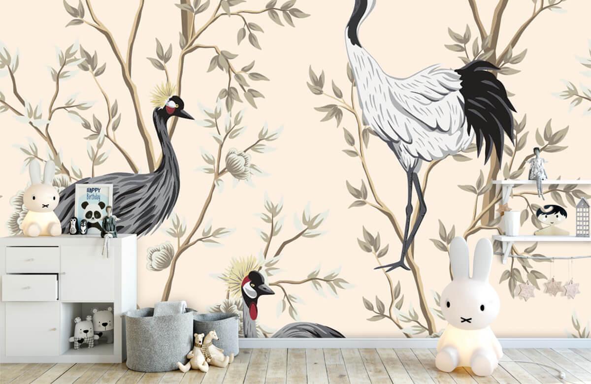 pattern Vintage kraanvogels 4