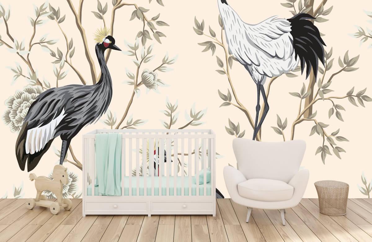 pattern Vintage kraanvogels 5