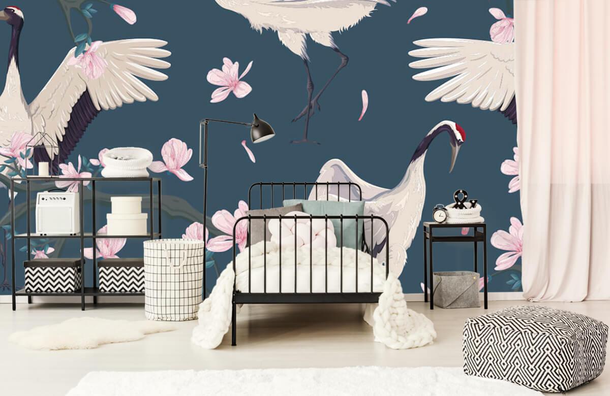 pattern Kraanvogels met magnolia's 1