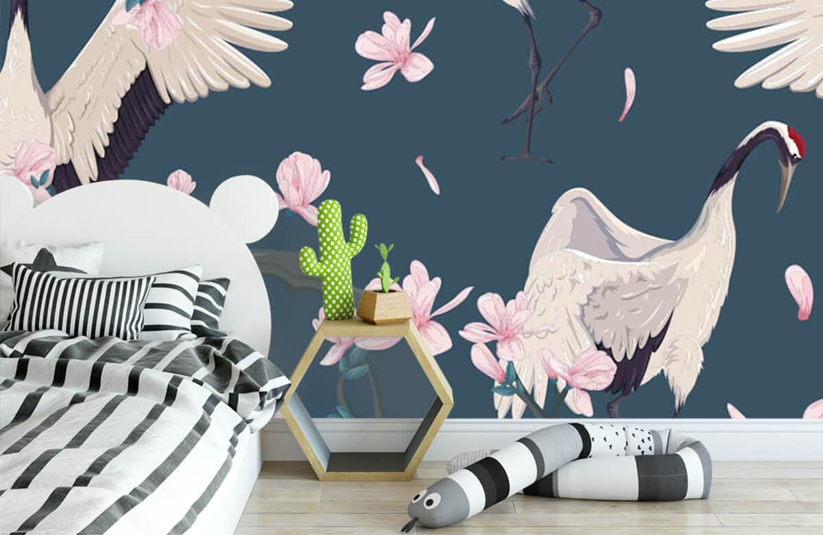 pattern Kraanvogels met magnolia's 2
