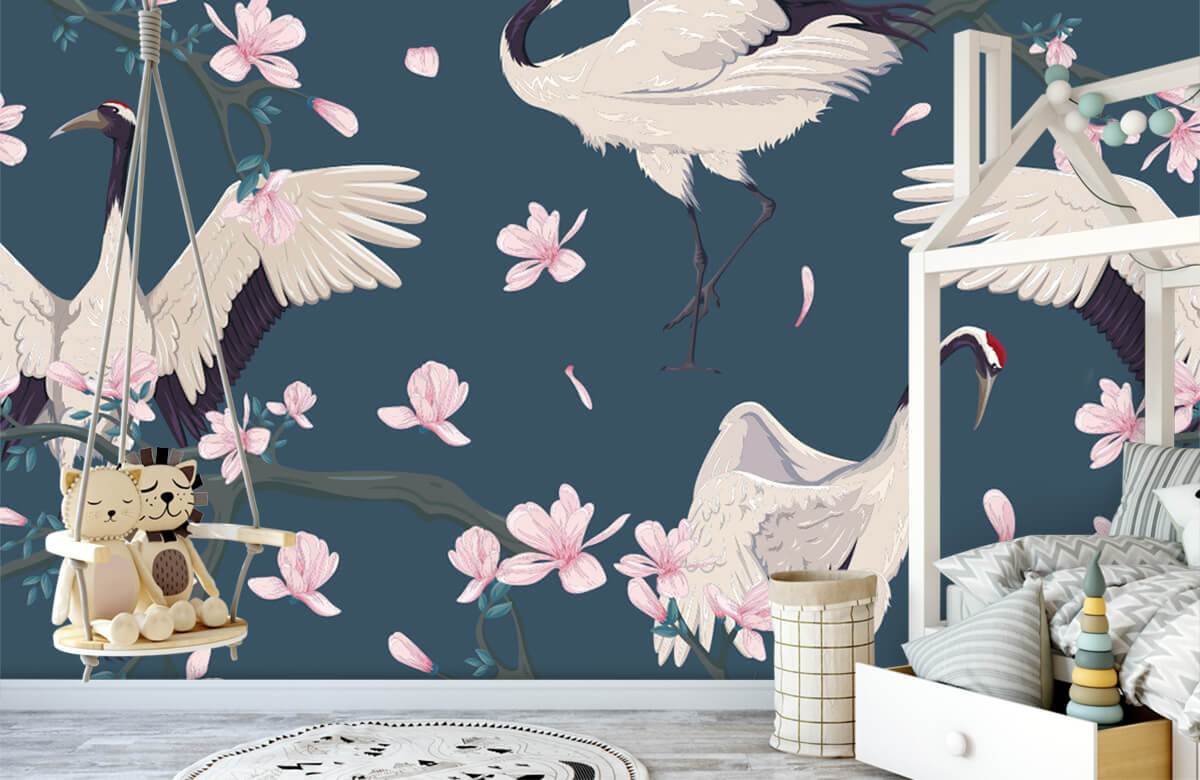 pattern Kraanvogels met magnolia's 3