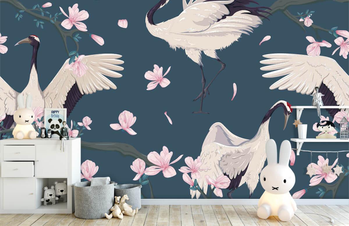 pattern Kraanvogels met magnolia's 4