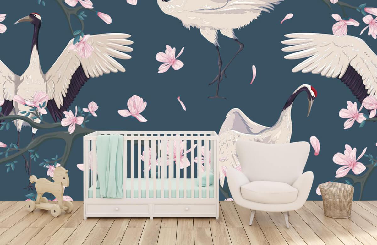 pattern Kraanvogels met magnolia's 5