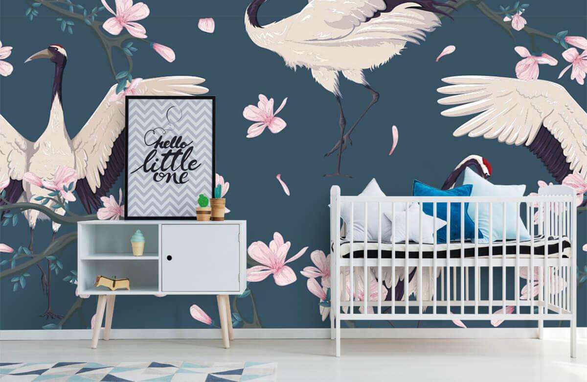 pattern Kraanvogels met magnolia's 6