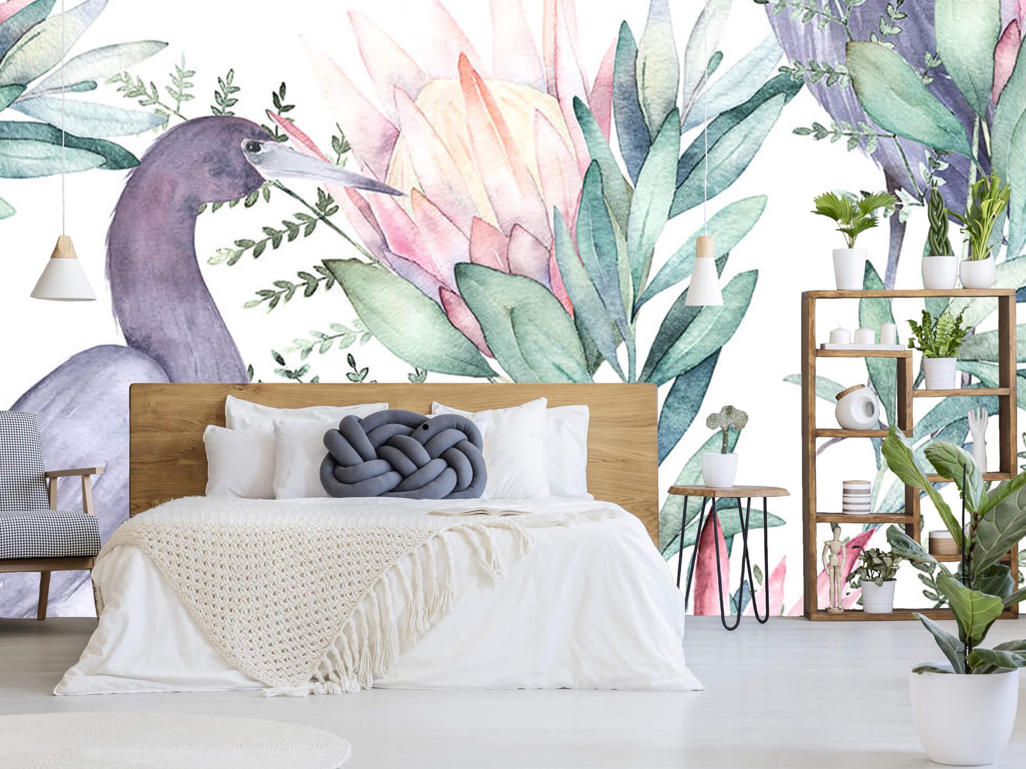 Kraanvogels op tropische bladeren 2