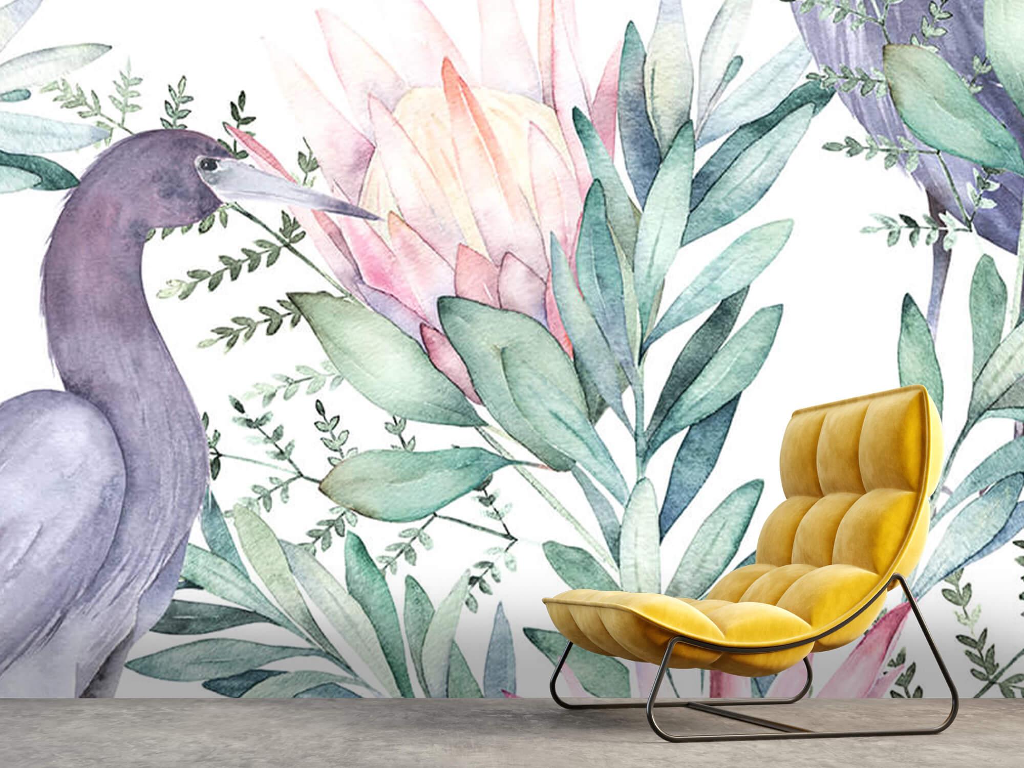 Kraanvogels op tropische bladeren 5