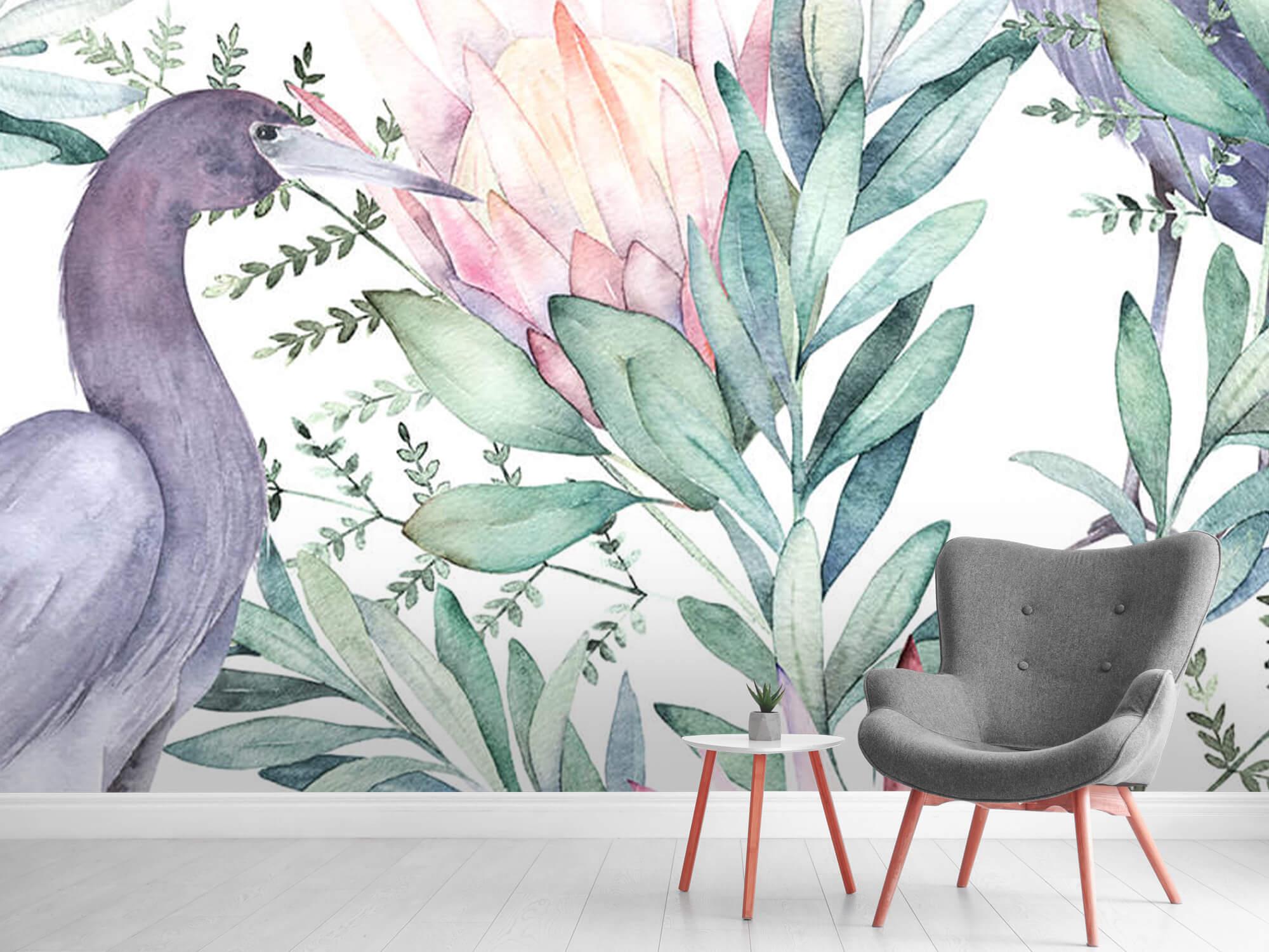 Kraanvogels op tropische bladeren 7