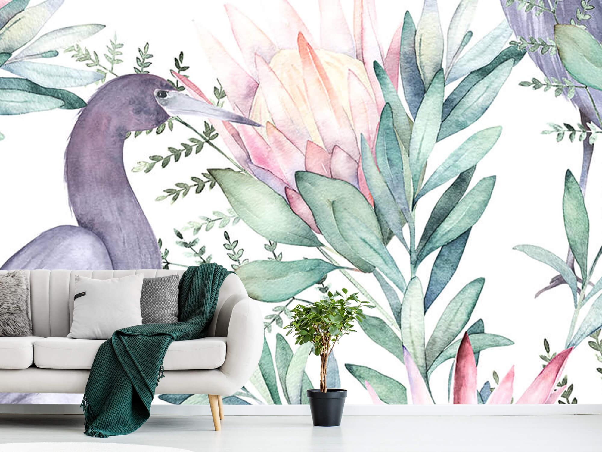 Kraanvogels op tropische bladeren 8