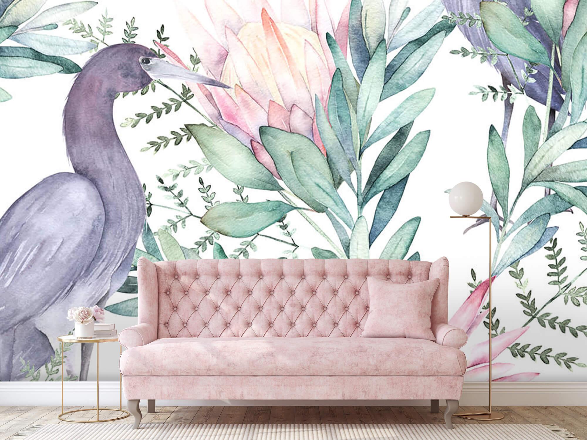 Kraanvogels op tropische bladeren 9