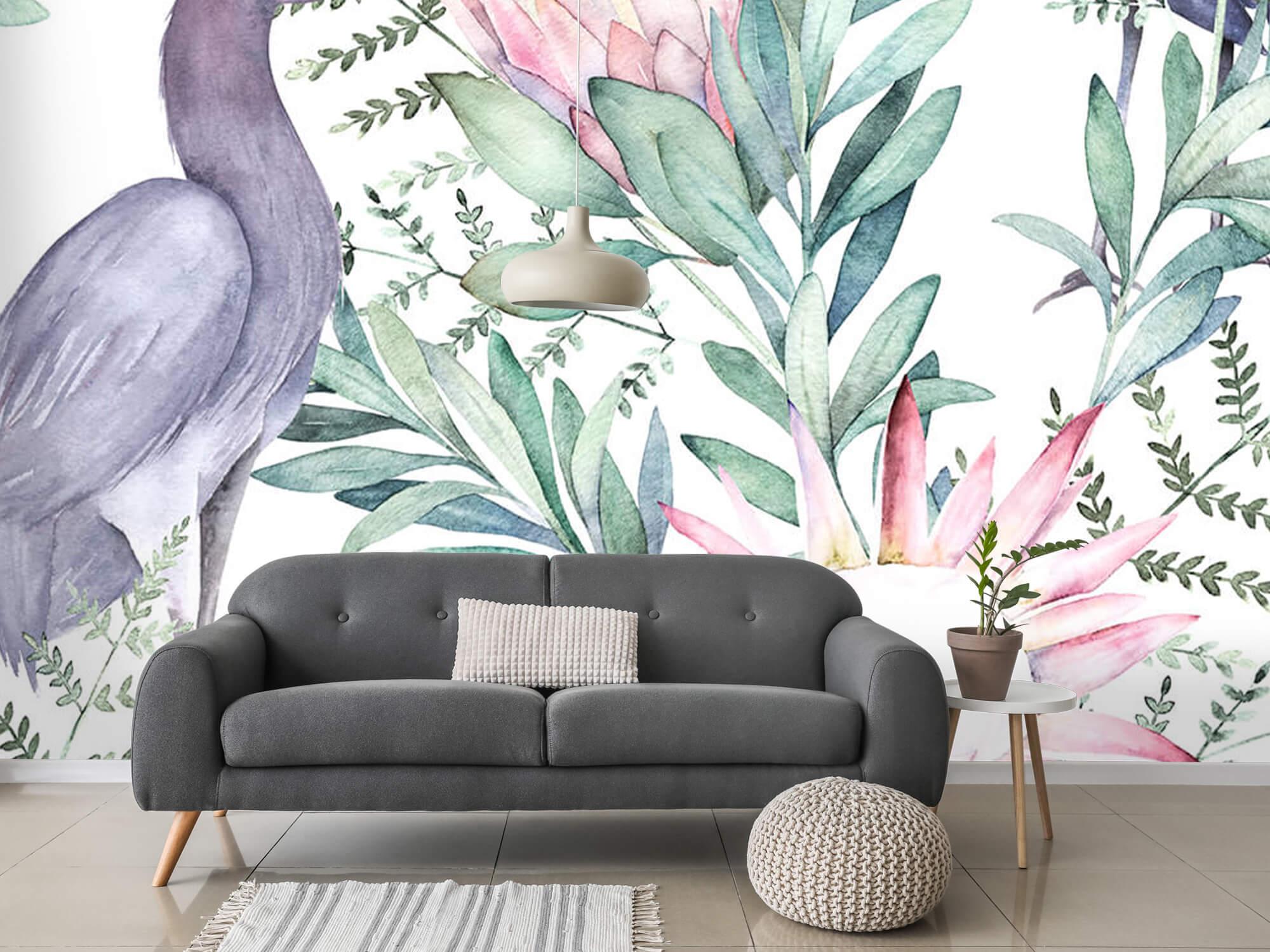 Kraanvogels op tropische bladeren 11